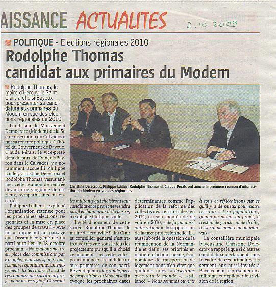 Rodolphe Thomas candidat aux primaires du Modem (Bayeux)