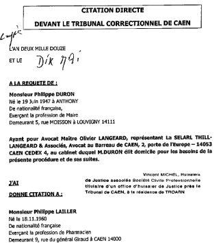 Citation directe Philippe Duron à Philippe Lailler